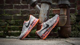 Nike Flyknit Air Max Premium Wolf Grey/Black-Total Orange