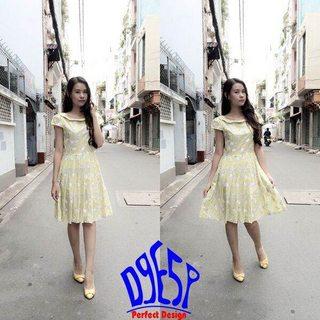 Đầm thái lan 087NHKG Đầm xòe tay ngắn in hình trái cam màu vàng bơ