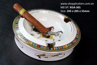 Gạt tàn xì gà Hermes họa tiết ngựa loại 3 điếu XGA-301