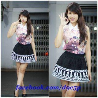Chân váy Thái Lan 44L Chân váy lưng thun, màu đen-trắng họa tiết đầu lâu,hàng 100% hình