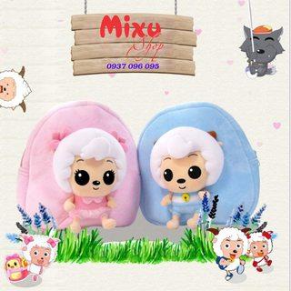 Balo trẻ em vải nhung hình chú cừu