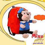 Balo cho trẻ bằng vải nhung hình chú khỉ cho bé